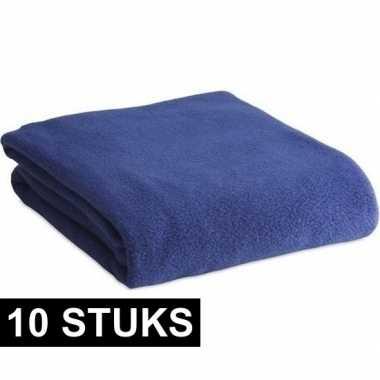 10x fleece dekens/plaids blauw 120 x 150 cm