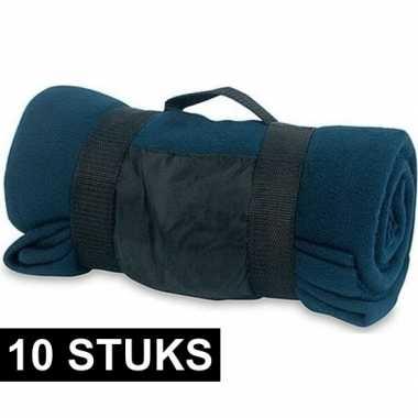 10x fleece dekens/plaids blauw afneembaar handvat 160 x 130 cm