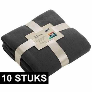 10x fleece dekens/plaids donkergrijs 130 x 170 cm