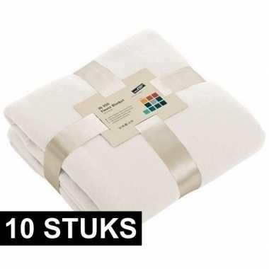 10x fleece dekens/plaids gebroken wit 130 x 170 cm