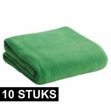 10x fleece dekens/plaids groen 120 x 150 cm