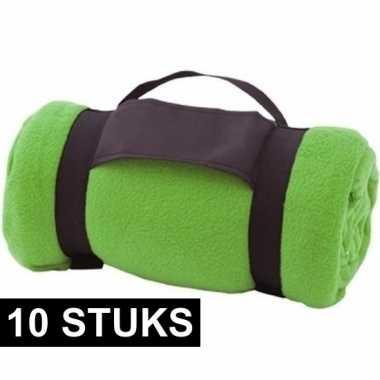 10x fleece dekens/plaids groen afneembaar handvat 160 x 130 cm