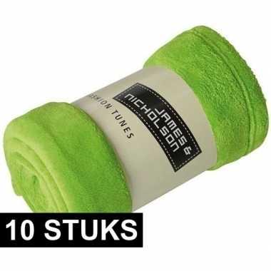 10x fleece dekens/plaids limegroen 120 x 160 cm