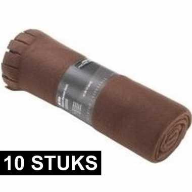 10x fleece dekens/plaids met franjes bruin 130 x 170 cm