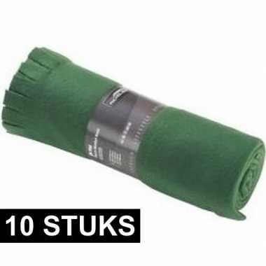10x fleece dekens/plaids met franjes donker groen 130 x 170 cm