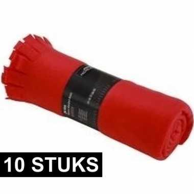 10x fleece dekens/plaids met franjes rood 130 x 170 cm