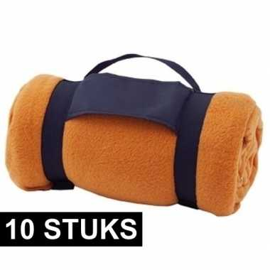 10x fleece dekens/plaids oranje afneembaar handvat 160 x 130 cm