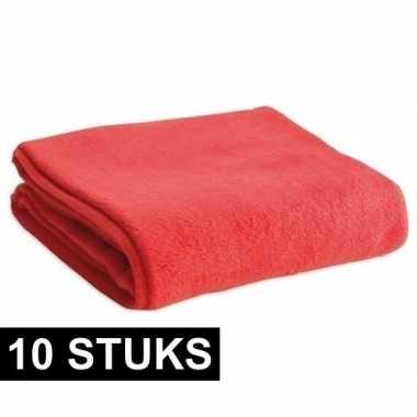 10x fleece dekens/plaids rood 120 x 150 cm