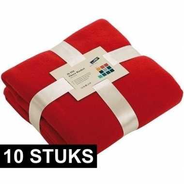 10x fleece dekens/plaids rood 130 x 170 cm