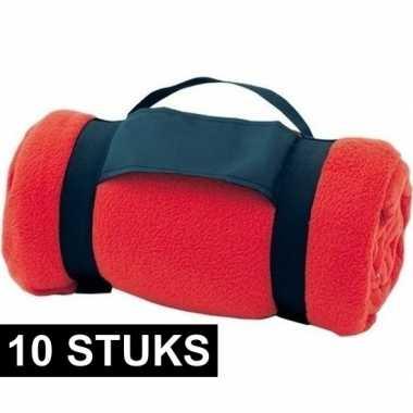 10x fleece dekens/plaids rood afneembaar handvat 160 x 130 cm