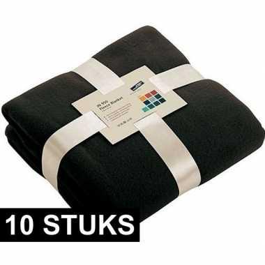 10x fleece dekens/plaids zwart 130 x 170 cm