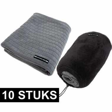 10x grijze fleecedekens met blokjespatroon 125x150cm