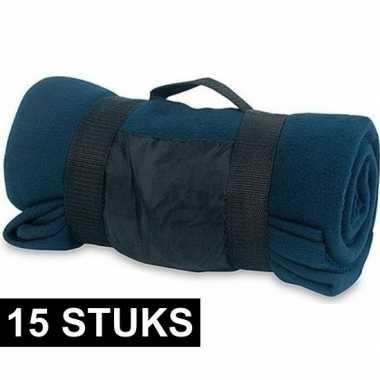 15x fleece dekens/plaids blauw afneembaar handvat 160 x 130 cm