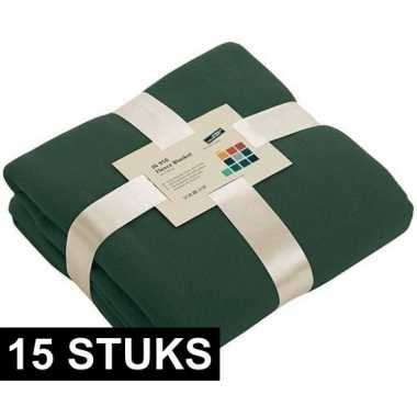 15x fleece dekens/plaids donkergroen 130 x 170 cm