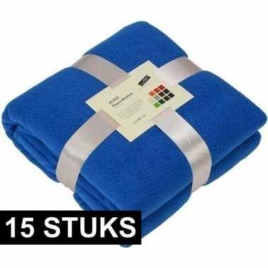 15x fleece dekens/plaids kobaltblauw 130 x 170 cm