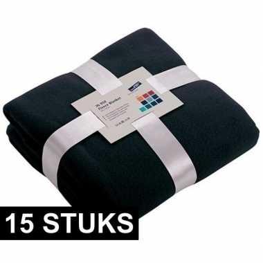 15x fleece dekens/plaids marineblauw 130 x 170 cm