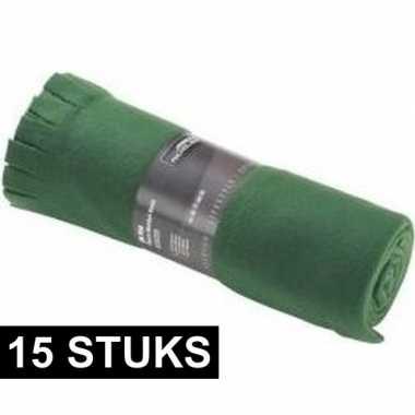 15x fleece dekens/plaids met franjes donker groen 130 x 170 cm