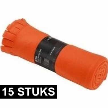 15x fleece dekens/plaids met franjes oranje 130 x 170 cm