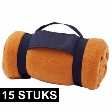 15x fleece dekens/plaids oranje afneembaar handvat 160 x 130 cm