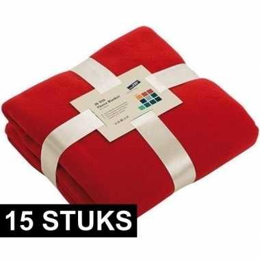 15x fleece dekens/plaids rood 130 x 170 cm