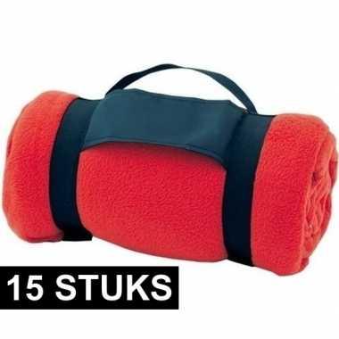 15x fleece dekens/plaids rood afneembaar handvat 160 x 130 cm