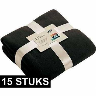 15x fleece dekens/plaids zwart 130 x 170 cm