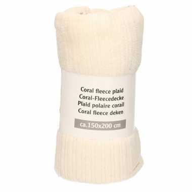 1x creme met strepen print fleece dekens 150 x 200 cm