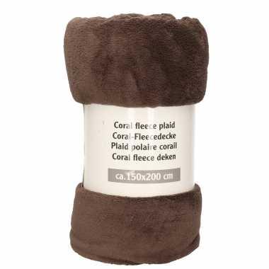 1x donker grijsbruine fleece dekens 150 x 200 cm