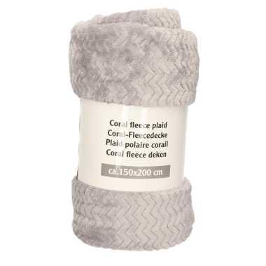 1x donker grijze zigzag fleece dekens 150 x 200 cm