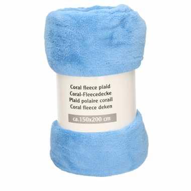 1x donker lavendel blauwe fleece dekens 150 x 200 cm
