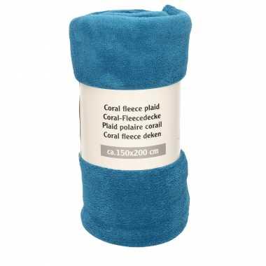 1x donker turquoise blauwe fleece dekens 150 x 200 cm