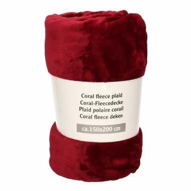1x donker wijn rode fleece dekens 150 x 200 cm