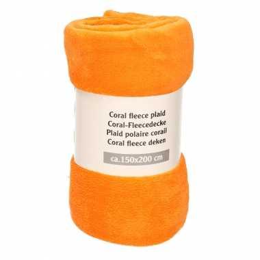 1x fel oranje fleece dekens 150 x 200 cm