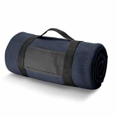 1x fleece dekens/plaids navy met afneembaar handvat 150 x 120 cm