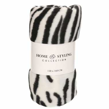 1x fleece dekens zebra print 130 x 160 cm