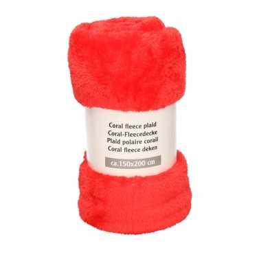 1x fluffy rode fleece dekens 150 x 200 cm