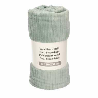 1x groengrijze met strepen print fleece dekens 150 x 200 cm