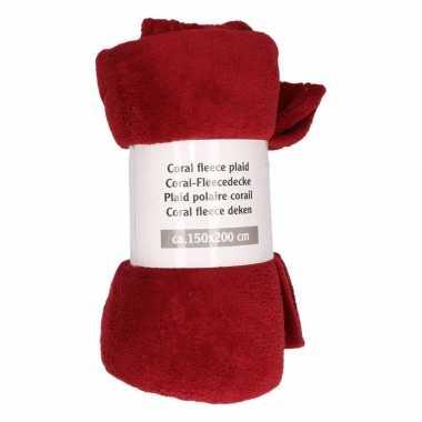 1x wijn rode fleece deken 150 x 200 cm