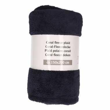 2x donkerblauwe fleece deken 150 x 200 cm