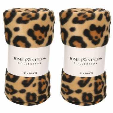 2x fleece dekens luipaard/panter print 130 x 160 cm