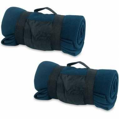 2x fleece dekens/plaids blauw afneembaar handvat 160 x 130 cm
