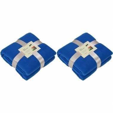 2x fleece dekens/plaids kobaltblauw 130 x 170 cm