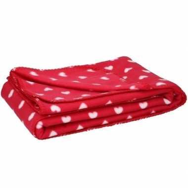 2x fleece plaid deken met hartjes 120 x 160 cm