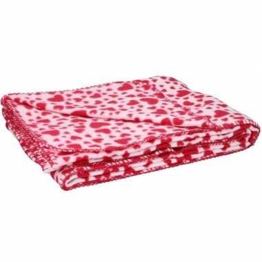 2x fleece plaid deken met rode hartjes 120 x 160 cm