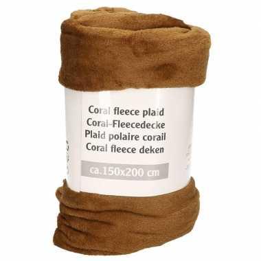 2x kaki bruin fleece deken 150 x 200 cm