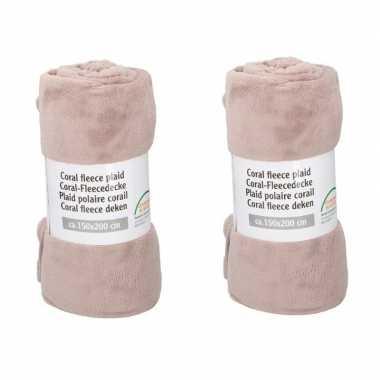 2x oud roze fleece deken 150 x 200 cm