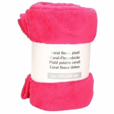 2x stuks framboos roze fleece deken 150 x 200 cm