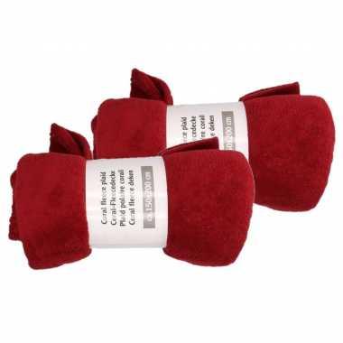 2x wijn rode fleece deken 150 x 200 cm