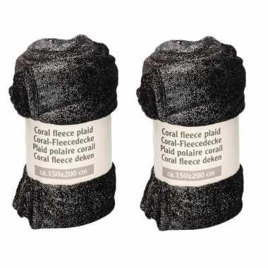 2x zwart met zilveren glitters fleece deken 150 x 200 cm