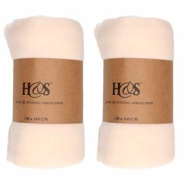 3x creme witte fleece dekens/deken 130 x 160 cm